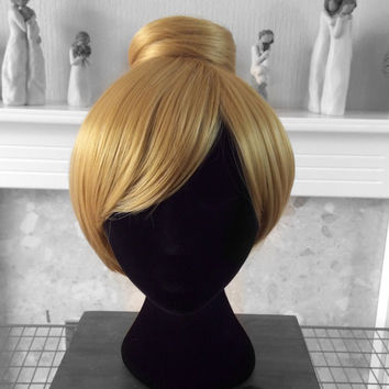 TINKERBELL Inspired Custom Made Pixie Wig Blonde Wig Bun Cosplay