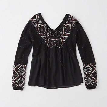 MIXED FABRIC PEASANT TOP