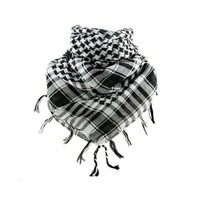 VERY SOFT NECK HOUNDSTOOTH SCARF, KANYE WEST STYLE, Black-White