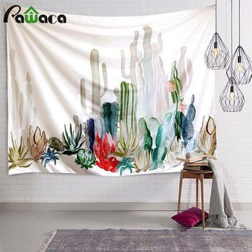 Simple White Cactus Hanging Wall Tapestry