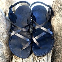 Leather sandal black leather Jesus sandal for man and woman holy land sandals