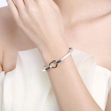 Bracelets for Women European and American heart shape simple silver
