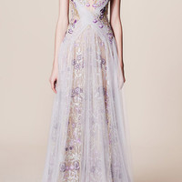 Illusion Floral Embroidered Gown | Moda Operandi