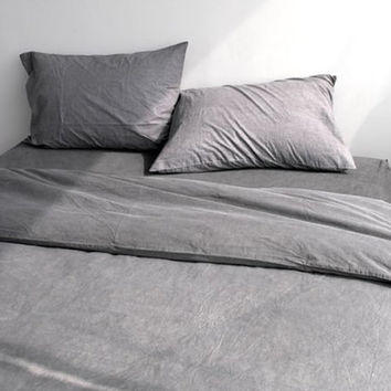 Natural Solid Gray Colored Washed Twin / Queen Size Bedding Set