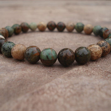 Green Opal Bracelet with Serpentine (Russian Jade) and Picture (Natural)  Jasper, For Him