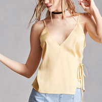 Satin Wrap-Front Cami Top