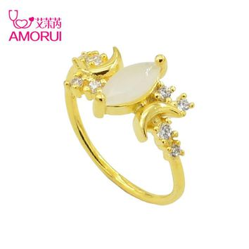 AMORUI Fashion Unique Simple Flat Crescent Gold Silver Moon Ring AAA CZ Stone Opal Engagement/Wedding Rings For Women Jewelry