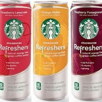 Starbucks Refreshers 12 Oz 12 Pack 4 Respberry Pomegrante, 4 Strawberry Lemonade, 4 Orange Melon