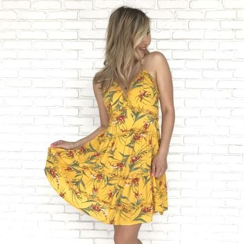 Golden Horizon Floral Shift Dress in Mustard