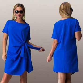 Big size 6XL 2018 Summer woman dress fashion bow solid patchwork Dresses Casual plus size women clothing 6xl Fat MM dress