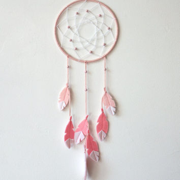 Pink Nursery Decor, Rose Quartz, Pink Dream Catcher, Dream Catcher Wall Hanging, Girl Nursery Decor, Baby girl nursery wall decor