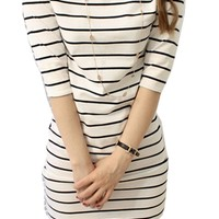 Half Sleeve Stripped Color Block Fitten Bodycon Mini Evening Party Cocktail Dress