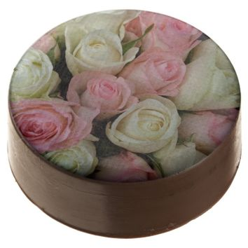 Beautiful Pink White Roses on Delicious Cookie Chocolate Covered Oreo
