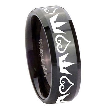 8mm Hearts and Crowns Beveled Edges Black Tungsten Carbide Men's Wedding Ring