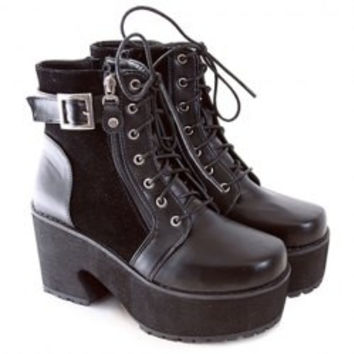 Stylish Women's Platform Boots With Chunky Heel and Buckle Design