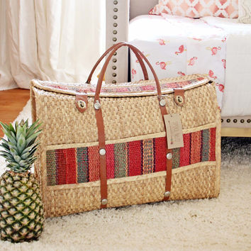 Vintage 70's Large Woven Tote