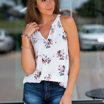 Mine Made Up Floral Tank : Ivory