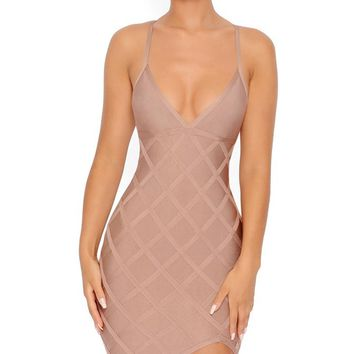 Hot Night Out Champagne Diamond Geometric Pattern Sleeveless Spaghetti Strap V Neck Bodycon Bandage Mini Dress