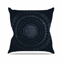 "Matt Eklund ""Lunar Confetti"" Geometric Blue Outdoor Throw Pillow"
