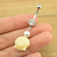 shell Belly Button Ring,sea shell belly button jewelry,shell Navel Jewelry,friendship bellyring,pearl belly ring