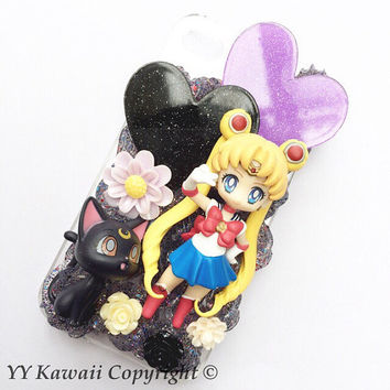 Sailor moon and Luna Kawaii Decoden Phone Case for Iphone 4/4s, 5/5s/5c, Samsung S5 and more