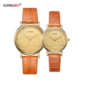 LONGBO Fashion Lovers' Quartz Watches Women Retro Bracelet Watch Ladies Leather Waterproof Ultra Thin Wristwatches Clock 80035
