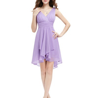 Bridesmaid Dress Ever Pretty A Line New Arrival HE03644 Ruffles V Neck Lilac High Low Bridesmaid Dresses 2016