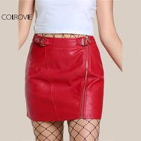 COLROVIE Red PU Leather Mini Pencil Skirt Buckle Strap Waist Women Sexy Club Skirts 2017 Empire Zip Up Casual Hot Summer Skirt
