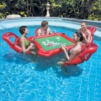 Texas Hold'em Inflatable Pool Poker Set w/ Card Table, floating lounge Chairs & Poker Set