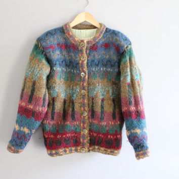 Ireland pure wool MOHAIR handloomed cute abstract pattern multi colour knit cardigan small medium large