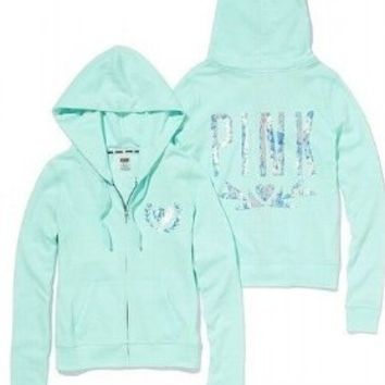 Victoria's Secret LIMITED EDITION PINK Mint Bling Sequin Jacket Hoodie XS