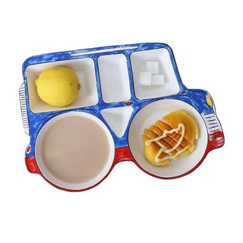 jeep car shape ceramic cartoon children Divided Platter dinnerware dish tableware breakfast plate meal set kids Dinner Plate