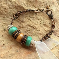 Wire Wrapped Copper Bracelet, Lampbead Bracelet, Copper Jewelry, Unique Bracelet, Ribbon Bracelet, Gift for Her, Women's Bracelet