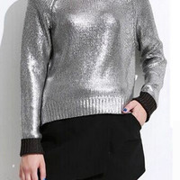 Cuff Sleeve Knitted Sweater