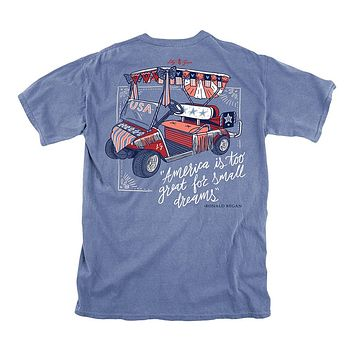 USA Golf Cart Tee in Marine Blue by Lily Grace