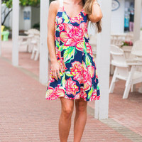Fiercely Floral Dress, Navy