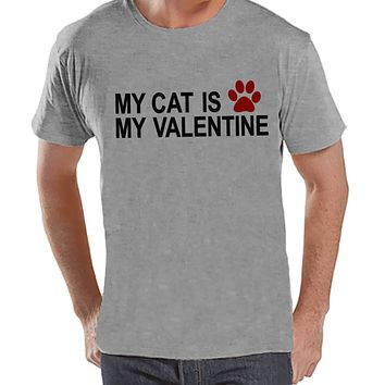 T-shirt's Valentine Shirt - Funny Cat Valentine Shirt - Mens Happy Valentines Day Shirt - Funny Anti Valentines Gift for Him - Grey T-shirt