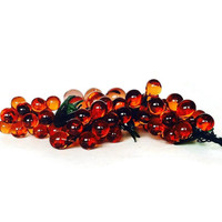 Blown Glass Grapes, Mid Century Grape Cluster, Amber Glass, Green Leaves, Five Bunches
