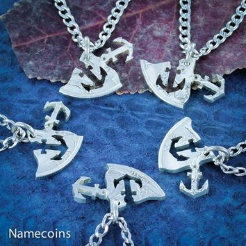 Anchors Away, 5 Necklaces, Best Friends and Family, Hand cut coin, By Namecoins