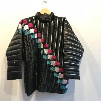 S&Q Quilted Black Sateen Bomber Jacket with Multi-Color Checkered Patchwork Detail