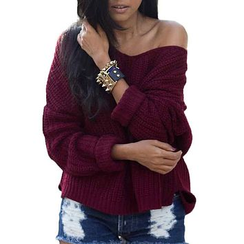2019 Women's Sexy V Neck Off Shoulder Jumper Hollow Soft Warm Knitted Sweater Open Front Blouse