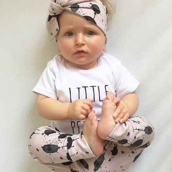 Newborn Baby Girls Clothes Summer Short Sleeve Letter T-shirt+Balloon Print Pants+Headband Infant 3Pcs Baby Girls Clothing Set