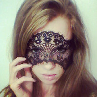 Black French Lace Face Mask or Headband Excellent for Halloween