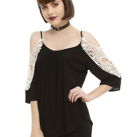 Black & Ivory Crochet Cold Shoulder Girls Top