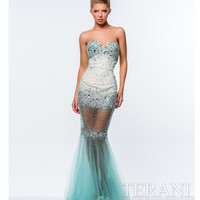 Aqua & Nude Illusion Skirt Sweetheart Dress
