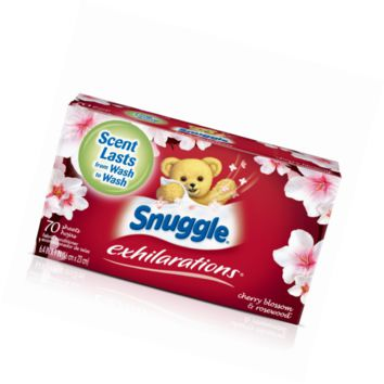 Snuggle Exhilarations Fabric Softener Dryer Sheets, Cherry Blossom & Rosewood, 7