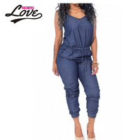 Dearlove Elegant macacao feminino 2017 Hot Femme Sexy Clubwear Sexy Woman Black Stylish Womens Sleeveless Denim Jumpsuit LC64062