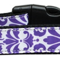 Damask Nylon Dog Collar Medium Purple