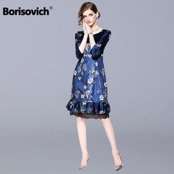 Borisovich Elegant Mermaid Casual Dress New 2018 Autumn Fashion England Style Patchwork Lace Luxury Women Party Dresses M991