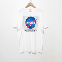 NASA t-shirt| Kennedy Space Center | I Need My Space|Science|Engineering|astronaut|white tshirt|novelty tee|90s grunge tshirt|hipster tee XL